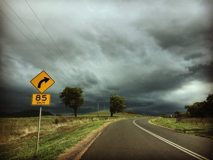 Thru' the windscreen, Gundy, NSW.