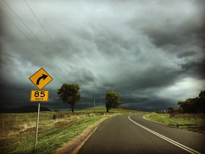 Thru' the windscreen, Gundy, NSW.