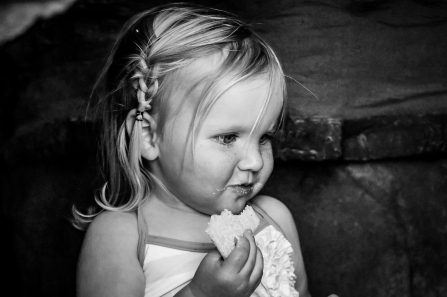 Josette eating B&W 6x4_