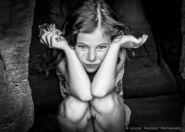 Lilah and the cave - Louise Faulkner - BW 1 WM